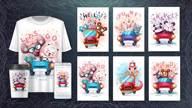 Plakat O Zwierzętach Turystycznych I Merchandising Premium Wektorów