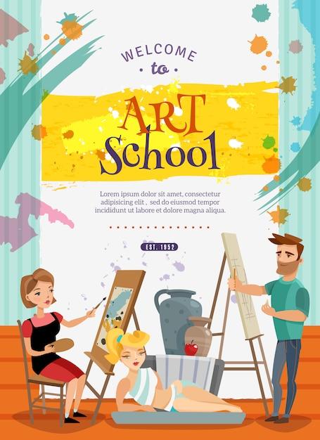 Plakat oferty zajęć wizualnej szkoły artystycznej Darmowych Wektorów