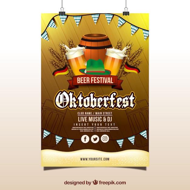 Plakat Oktoberfestu Z Flagami, Beczką Piwa I Kubkami Darmowych Wektorów