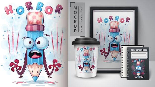 Plakat Ołówkowy Horror I Merchandising Darmowych Wektorów
