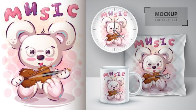 Plakat Opatrzony Muzyką I Merchandising Premium Wektorów