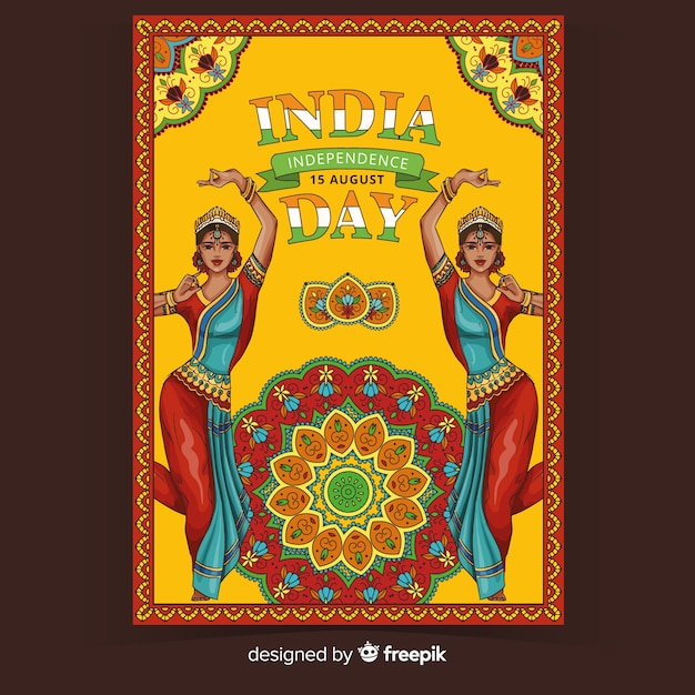 Plakat ozdobny dzień niepodległości indii Darmowych Wektorów