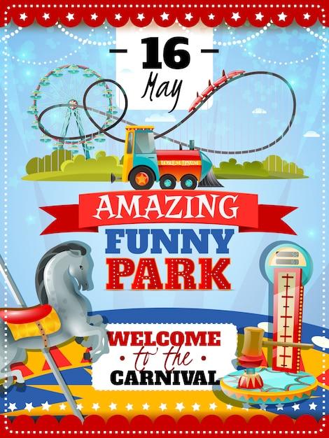 Plakat Parku Rozrywki Darmowych Wektorów
