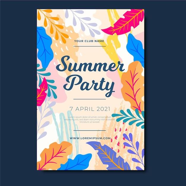 Plakat Party Lato Z Kolorowych Liści Darmowych Wektorów
