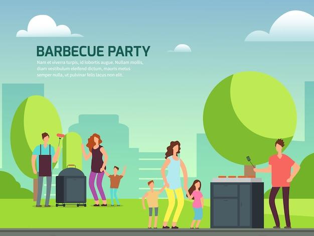 Plakat party z grilla. rodziny postaci z kreskówek w parku Premium Wektorów