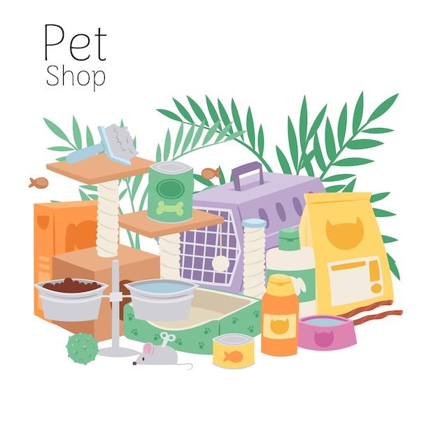 Plakat Petshop Zawiera Klatkę Dla Kotów I Psów, Zabawki, Karmę Dla Zwierząt Domowych, Miski I Ilustracje Liści Roślin Domowych. Premium Wektorów
