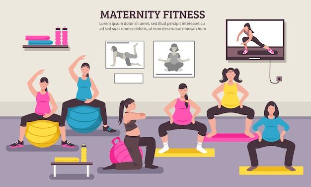 Plakat płaski fitness klasy ciążowej Darmowych Wektorów