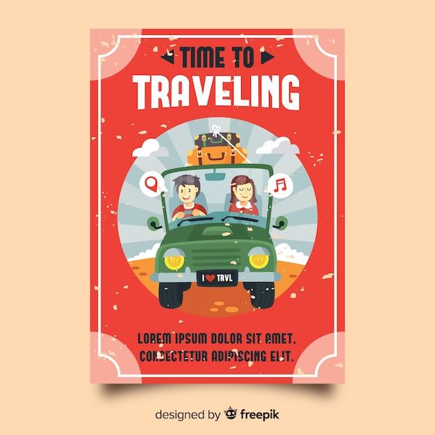 Plakat płaski rocznika podróży Darmowych Wektorów