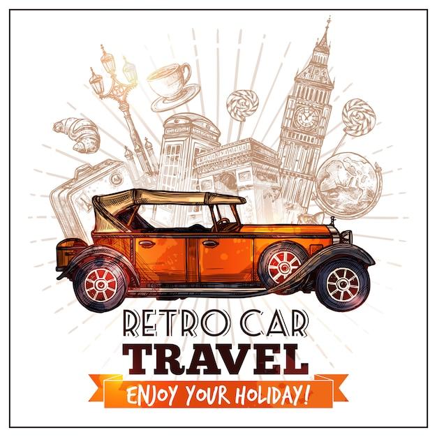 Plakat podróż retro samochodów Darmowych Wektorów