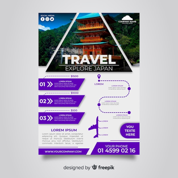 Plakat podróż z japońską świątynią Darmowych Wektorów