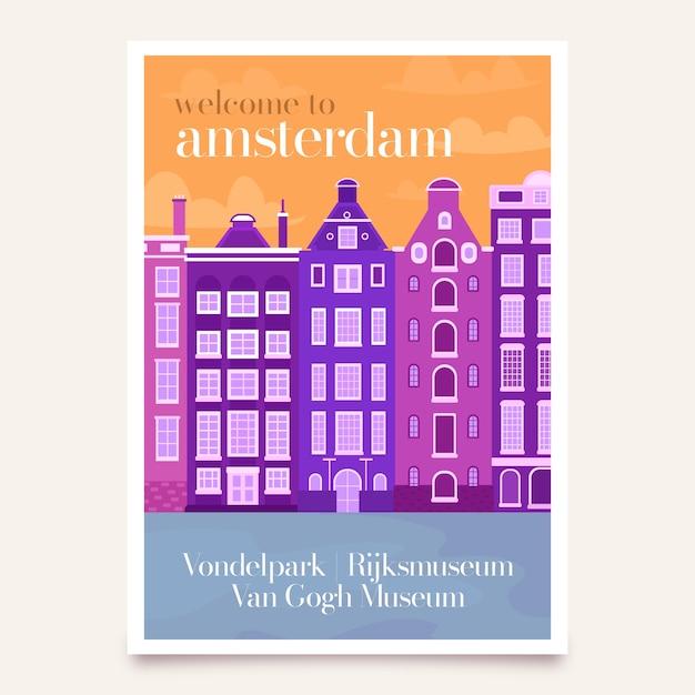 Plakat Podróżny Z Amsterdamem Darmowych Wektorów
