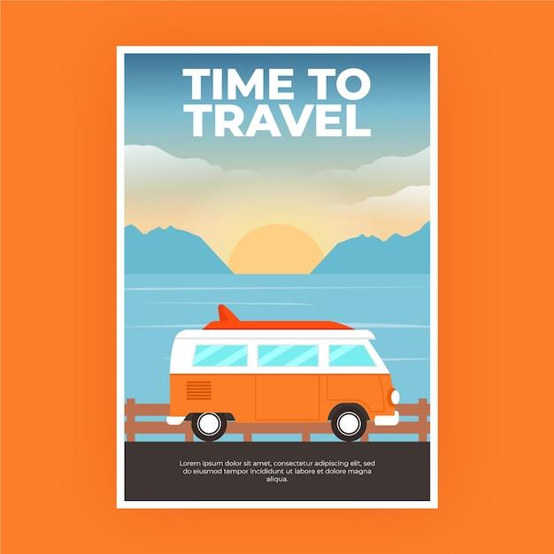 Plakat Podróżny Z Kamperem Premium Wektorów