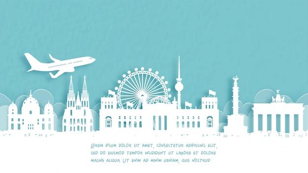 Plakat Podróżny Z Powitaniem W Berlinie, Niemcy. Premium Wektorów