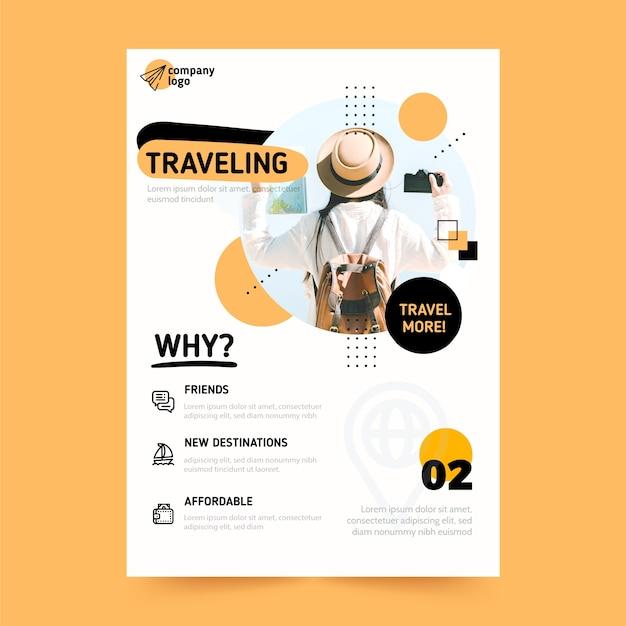 Plakat Podróżny Ze Zdjęciem Premium Wektorów