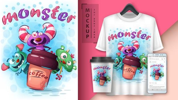 Plakat potworów grozy i merchandising Premium Wektorów