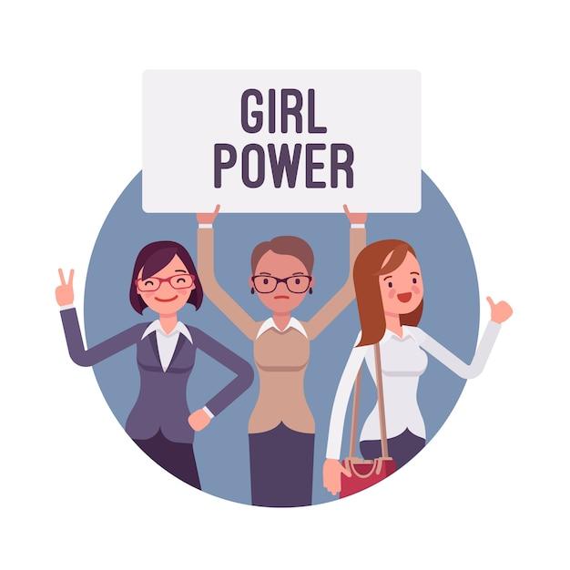 Plakat power girl Premium Wektorów