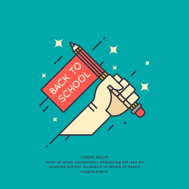 Plakat Powrót Do Szkoły. Nowoczesna Grafika Premium Wektorów