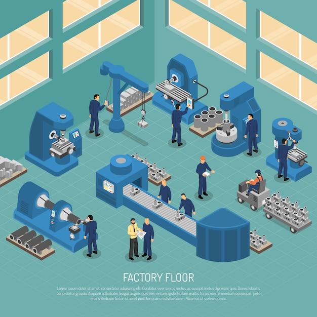 Plakat produkcji izometrycznej dla przemysłu ciężkiego Darmowych Wektorów
