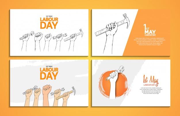 Plakat projekt wektor dzień pracy Premium Wektorów