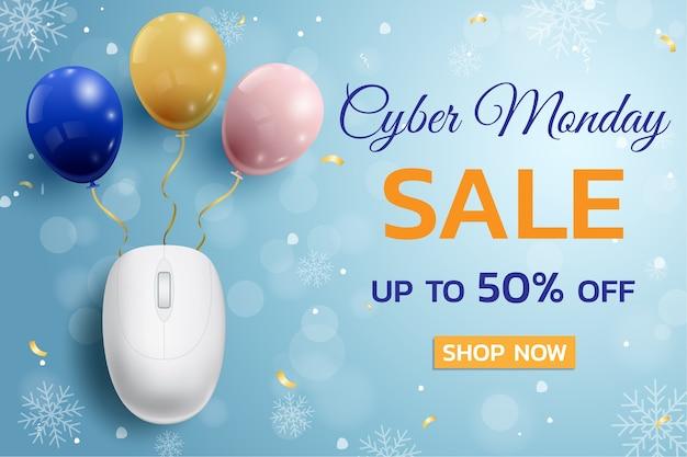 Plakat Promocyjny Cyber Monday Sale Z Tłem Myszy I Balonów Dla Handlu, Biznesu I Reklamy. Premium Wektorów