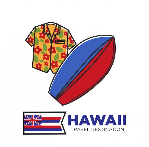 Plakat promocyjny na hawajach w podróży z kwiatową koszulą i deską surfingową Premium Wektorów