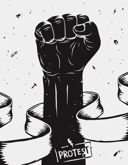 Plakat Protestacyjny, Podniesiona Pięść, Która Odbyła Się W Proteście Premium Wektorów