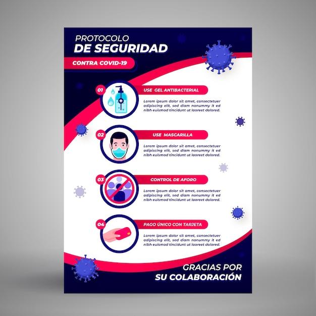 Plakat Protokoły Zapobiegania Koronawirusowi Darmowych Wektorów