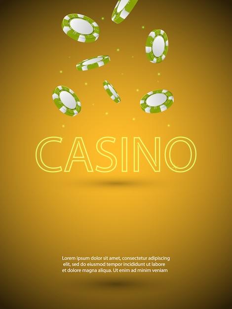 Plakat Przedstawiający Motyw Kasyna Z Błyszczącą Neonową Literą I Spadającymi Kolorowymi żetonami. Hazard Premium Wektorów