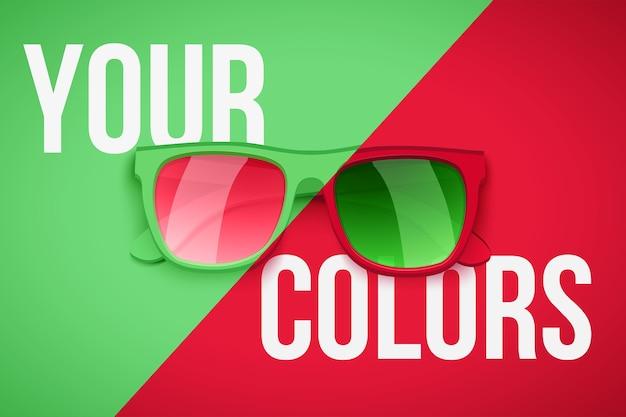 Plakat Przedstawiający Twoją Osobowość. Modne Okulary Przeciwsłoneczne Na Zielonym I Czerwonym Tle. Ilustracja. Premium Wektorów