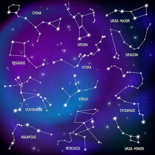 Plakat Realistyczne Nocne Niebo Z Konstelacjami Darmowych Wektorów