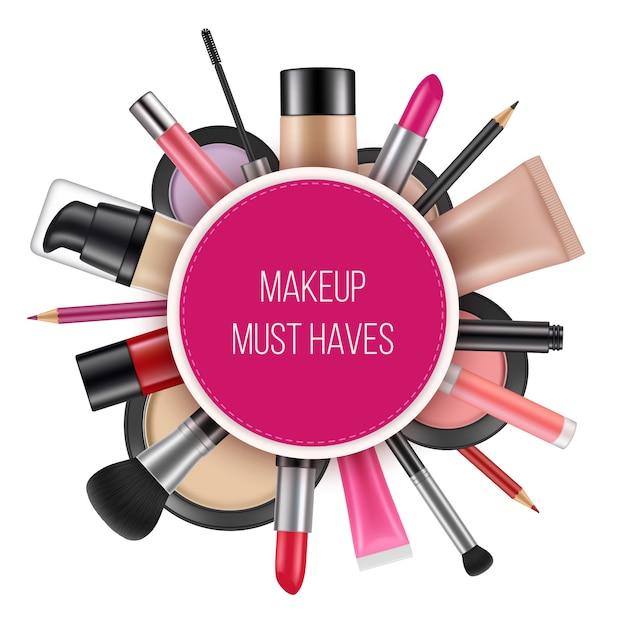 Plakat reklamowy kosmetyków. zdjęcia wektorowe kosmetyków na realistyczne tabliczki Premium Wektorów