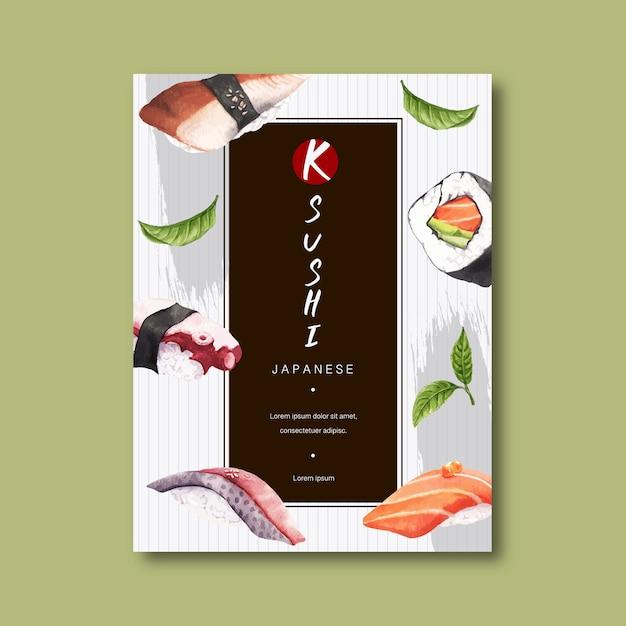 Plakat reklamujący restaurację sushi. Darmowych Wektorów