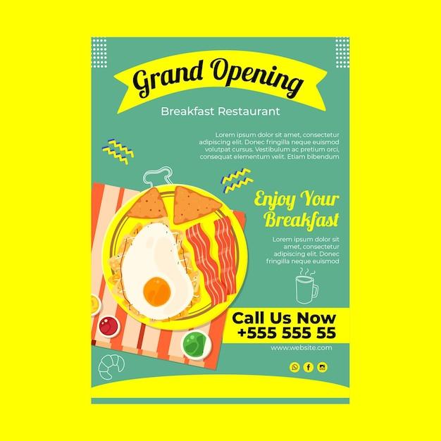 Plakat Restauracji śniadaniowej Darmowych Wektorów