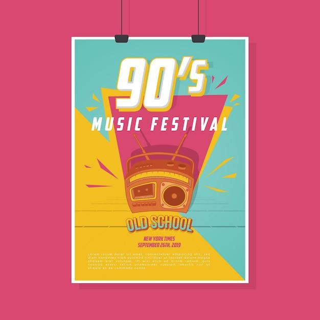 Plakat Retro Vintage Music Festival Premium Wektorów