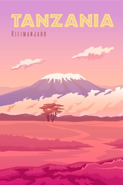 Plakat Retro Wektor Ilustracja Pionowa. Tanzania. Wulkan Kilimandżaro. Zachód Słońca. Krajobraz. Premium Wektorów