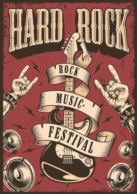 Plakat Rock And Roll Darmowych Wektorów