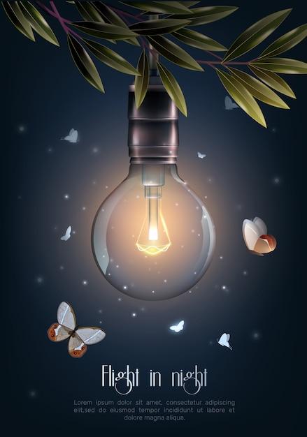 Plakat rocznika świecące żarówki Darmowych Wektorów