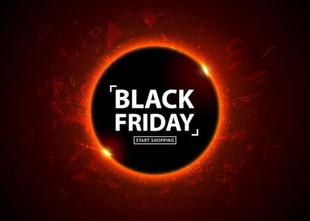 Plakat sprzedaż czarny piątek. baner sezonowy zniżki, miejsce na tekst. świecące kolorowe koła z efektem czerwonego światła na czarnym tle streszczenie. szablon projektu na zakupy, closeout, ulotki, billboard Premium Wektorów