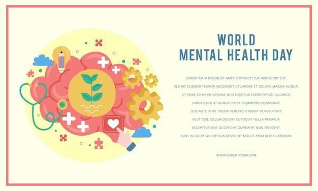 Plakat światowego dnia zdrowia psychicznego Premium Wektorów