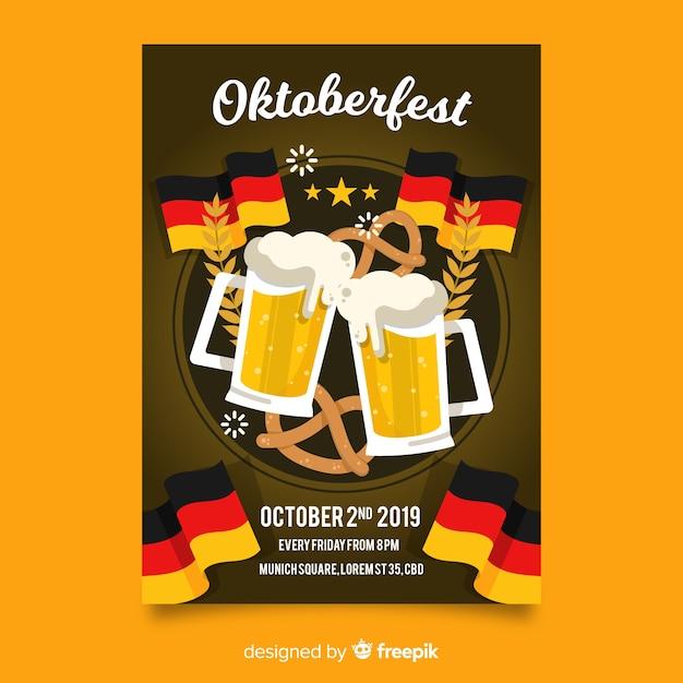 Plakat szablon oktoberfest płaska konstrukcja Darmowych Wektorów