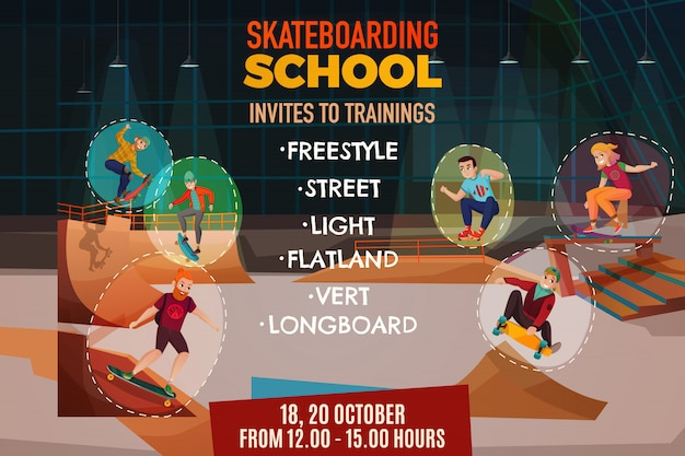 Plakat Szkoły Skateboardingu Darmowych Wektorów