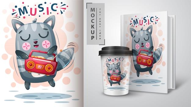 Plakat taneczny dla kotów i merchandising Premium Wektorów