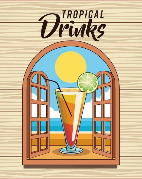 Plakat Tropikalny Koktajl Premium Wektorów