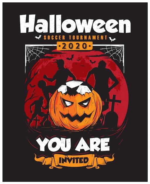 Plakat Turnieju Piłki Nożnej Halloween Premium Wektorów