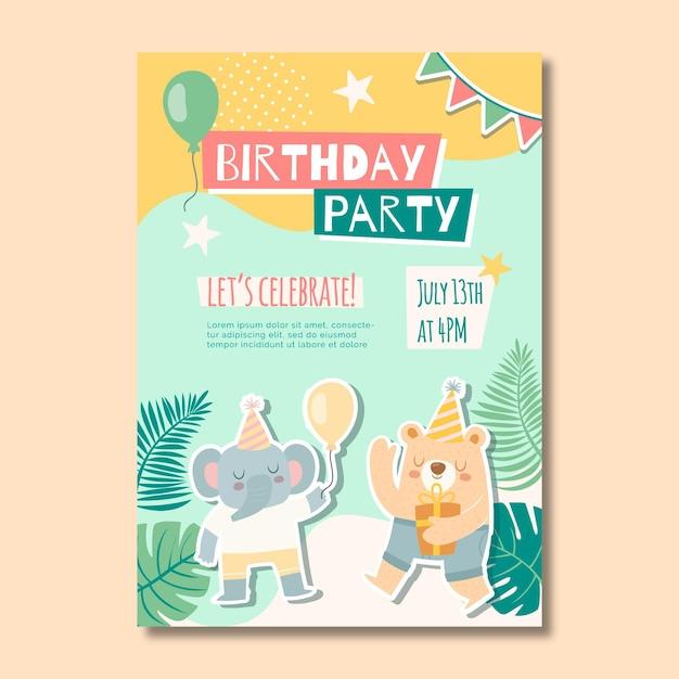 Plakat Urodzinowy Dla Dzieci Premium Wektorów