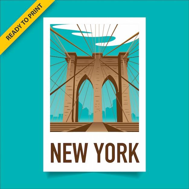 Plakat W Stylu Vintage, Naklejka I Pocztówka Z Widokiem Na Most Brookliński, Na Manhattanie I Nowym Jorku W Tle, Plakat W Stylu Filmu Polaroid. Premium Wektorów