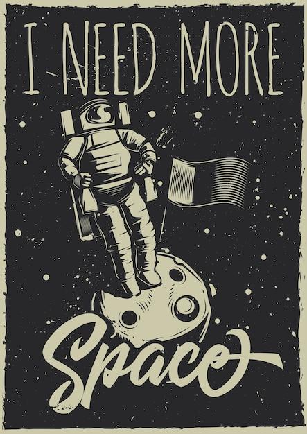 Plakat W Stylu Vintage Z Ilustracją Księżycowego łazika I Planety Darmowych Wektorów