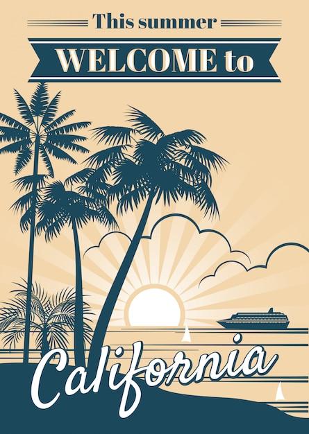 Plakat wektor w kalifornii Premium Wektorów