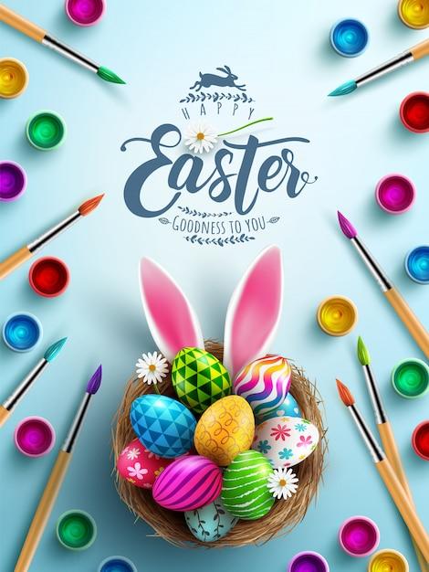 Plakat Wielkanocny W Malowaniu Koncepcji Pisanek Z Bursh Premium Wektorów