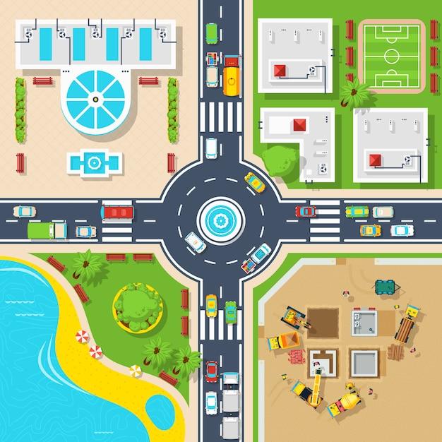 Plakat z góry widok miasta Darmowych Wektorów